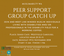 Muslimability WA Peer Support Group Catch Up